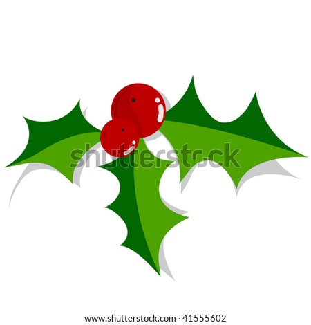 Christmas holly ornament over white background.