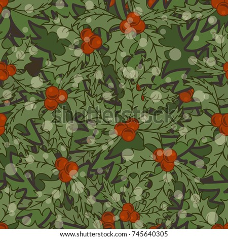Christmas holly seamless pattern. Merry Christmas and Happy New Year design. Christmas decorative multilayered pattern for print, texture, wrapper. Mistletoe flat traditional style.