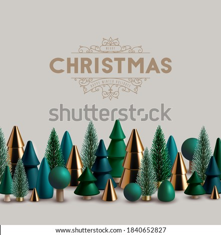 Christmas horizontal border made of green and gold wooden and glass Christmas trees.