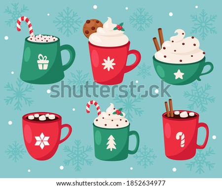 Christmas hot drinks collection. Merry Christmas. Vector illustration. Foto stock ©