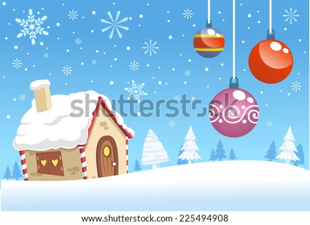 Christmas house decoration background design vector cartoon illustration