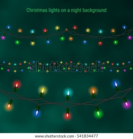 Christmas house lights on a night background. Luminous garlands for greeting cards, invitations and gift cards
