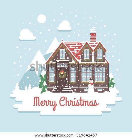 christmas house on a background