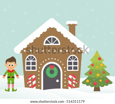 christmas house with cartoon