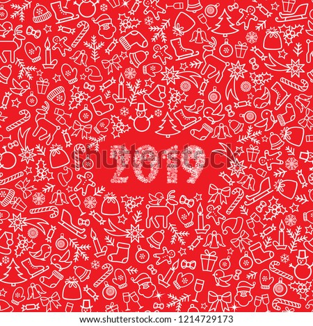 Christmas icon holiday background. Happy New 2019 Year greeting card design