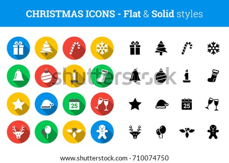 Christmas icon set – flat and solid style