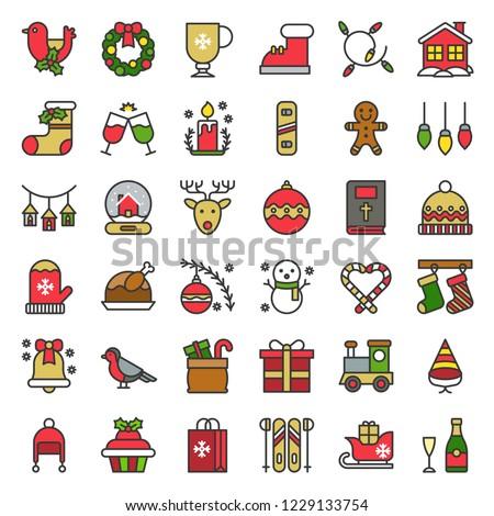 Christmas icon set 7, flat design editable outline.