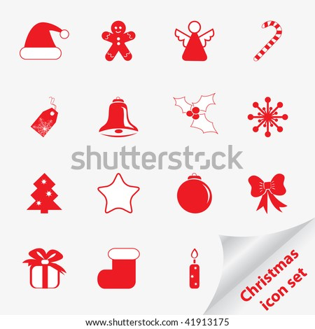 Christmas icon set for your design. Vector illustration.