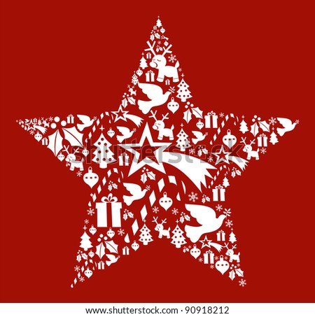 Christmas icon set in star shape postcard background. Vector file available.