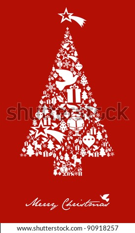 Christmas icon set in tree shape postcard background. Vector file available.