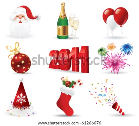 Christmas Icon Set. Vector Illustration