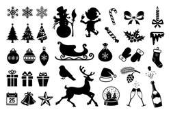 Christmas icons and christmas silhouettes isolated on white background. Vector black icons of snowflakes, christmas tree, balls and vector silhouettes of elf, snowman, deer collected in large set