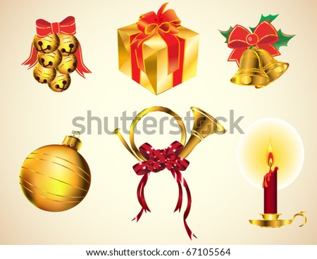 Christmas icons and decoration, gold