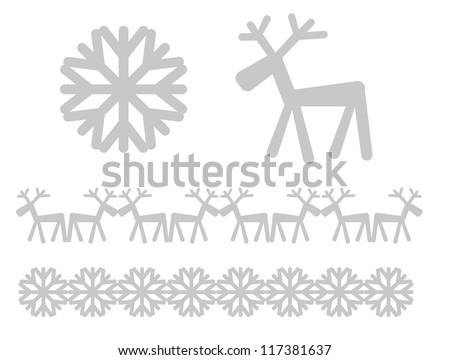 Christmas icons and design elements - reaindeer and snowflake