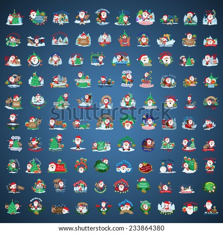Christmas Icons And Elements Set Isolated On Blue Background Vector Illustration Graphic Design Editable For Your Design Collection Of Christmas Icons
