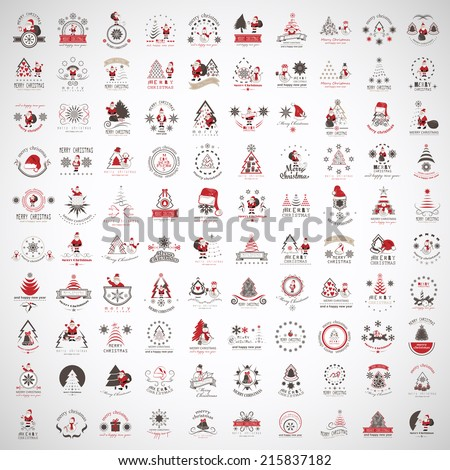 Christmas Icons And Elements Set - Isolated On Gray Background - Vector Illustration, Graphic Design Editable For Your Design. Collection Of Xmas Icons