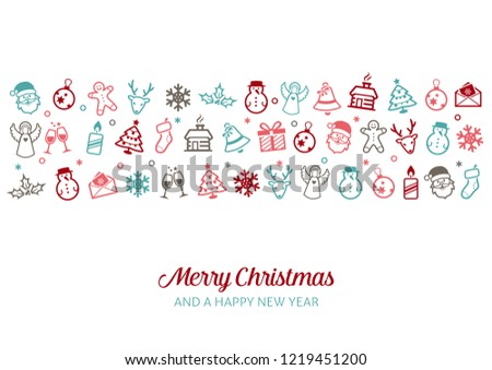 Christmas Icons Background - can be used as a greeting card, banner, decoration for web or print