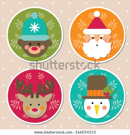 Christmas icons cartoon characters