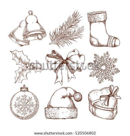 Christmas icons hand drawn sketch set. Isolated retro holidays object, symbol, element