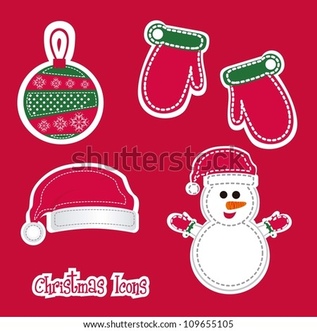 Christmas icons illustration of red and green color, vector illustration