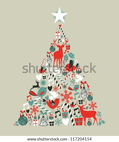 Christmas icons in pine tree shape greeting card background. Vector illustration layered for easy manipulation and custom coloring.