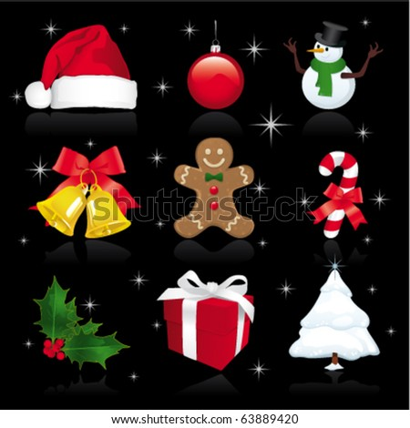 christmas icons on black