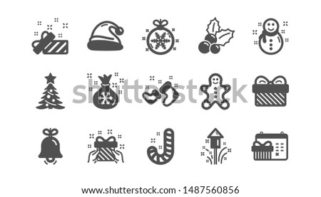 Christmas icons. Santa hat, Snowflake and Gift box. New year classic icon set. Quality set. Vector