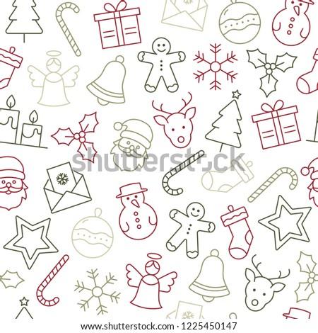 Christmas Icons Seamless Pattern - Christmas Decoration
