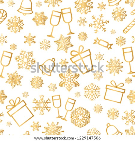 Christmas icons seamless pattern, Happy Winter Holiday tile background. Doodle outline ornamental Nature Decor elements.