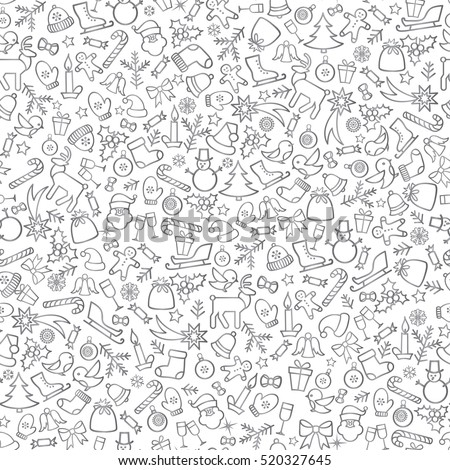 Christmas icons seamless pattern, Happy Winter Holiday tile background. Doodle outline ornamental design elements