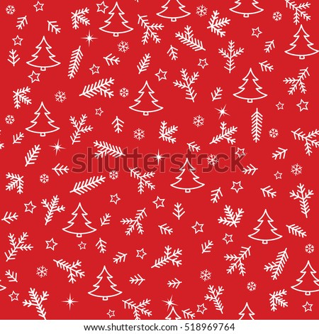 Christmas Icons Seamless Pattern with New Year Tree, Snow and Stars. Happy Winter Holiday Wallpaper with Nature Decor elements. Fir Tree branch and snowflakes tiled background design.