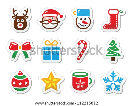 Christmas icons set as labels - stock vector