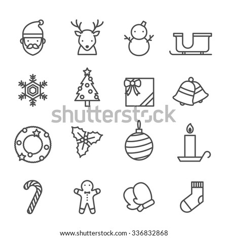 Christmas icons set black and white color isolated on white background