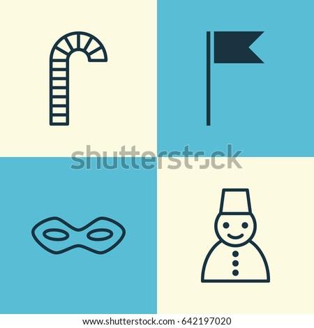 christmas icons set collection