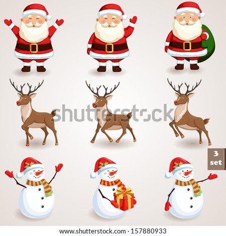 Christmas icons set Holiday moving characters collection Vector illustration