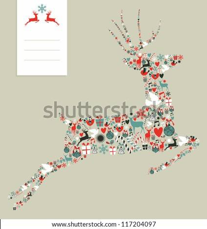 Christmas icons set in jumping deer greeting card background. Vector illustration layered for easy manipulation and custom coloring.