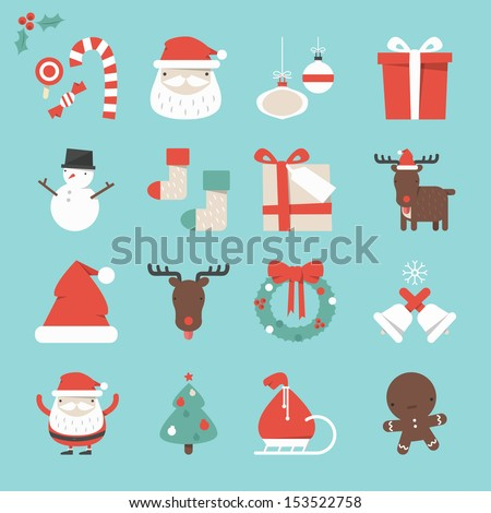 Christmas Icons set, vector