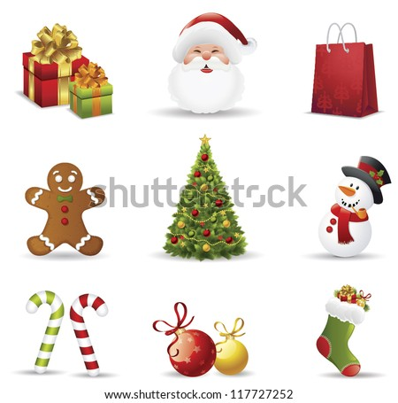 Christmas icons set.Vector illustration - stock vector