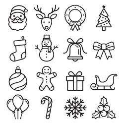 Christmas icons set. Vector illustrations.