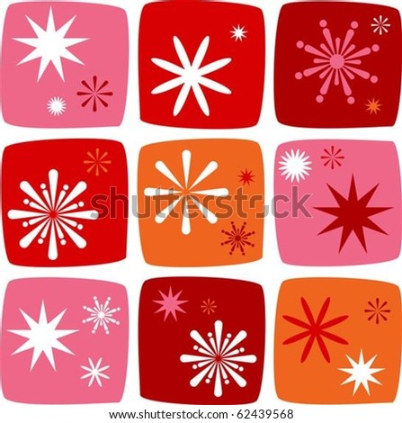 Christmas Icons set with salutes, stars and sparklers