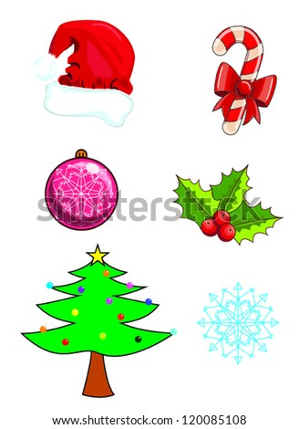 Christmas icons symbols vector illustration christmas tree santa cap cane candy bauble mistletoe berry snowflake.