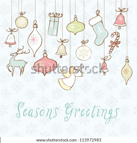 Christmas icons vector card
