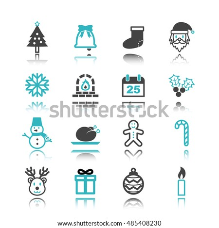 christmas icons with reflection isolated on white background