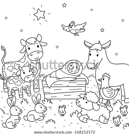 Christmas illustration. Baby Jesus and animals