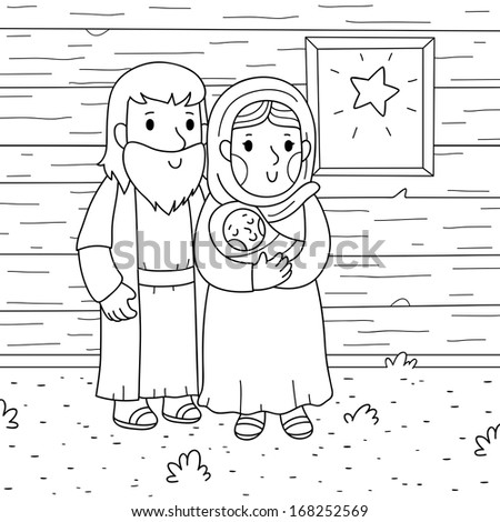 Christmas illustration. Baby Jesus, Mary and Joseph.