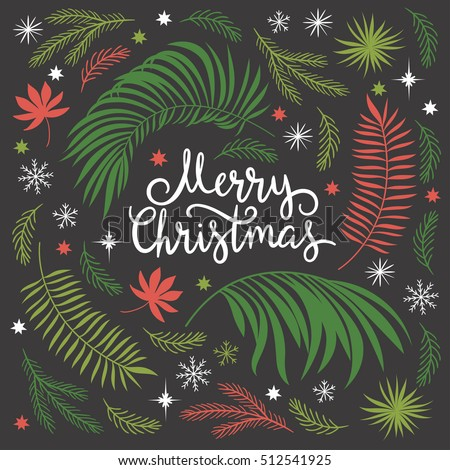 Christmas illustration, lettering