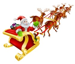Christmas illustration of Cartoon Santa Claus flying in his sled or sleigh and waving
