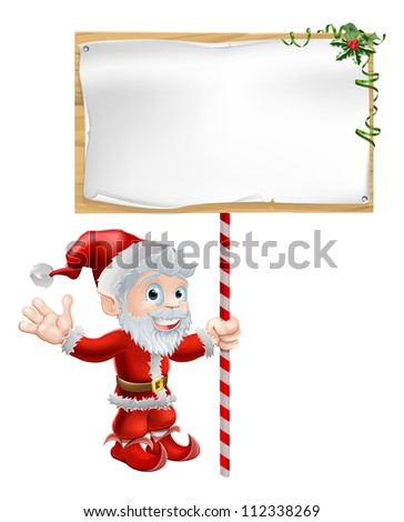 Christmas illustration of Santa Claus holding a large sign board