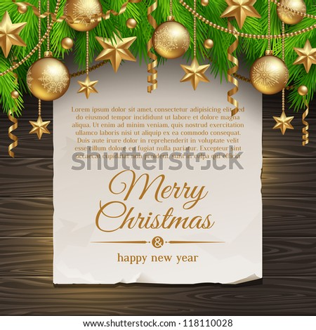 Christmas illustration - paper banner with greeting and Christmas tree branches with golden decoration