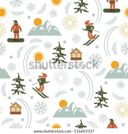 christmas illustration  ski